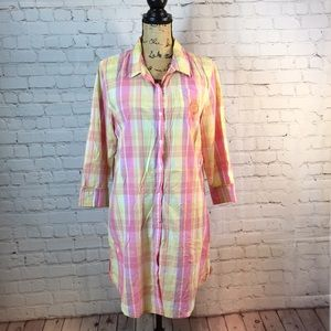 Chaps plaid cotton shirt dress